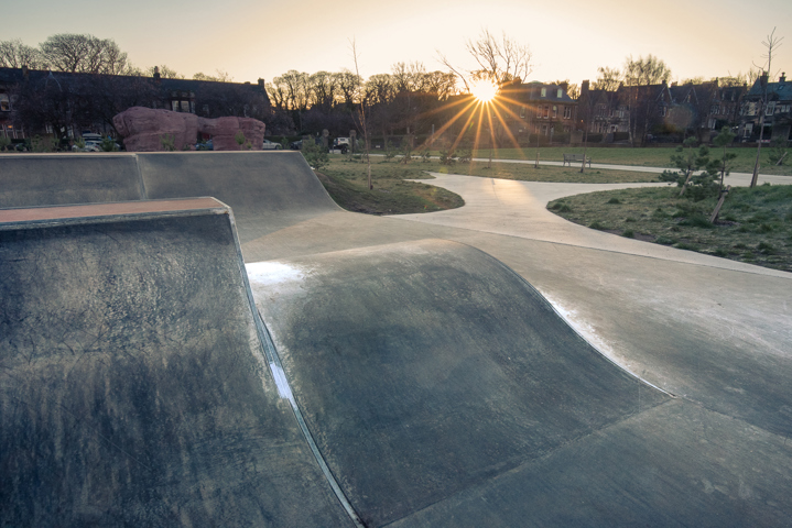 deserted skatepark at dawn