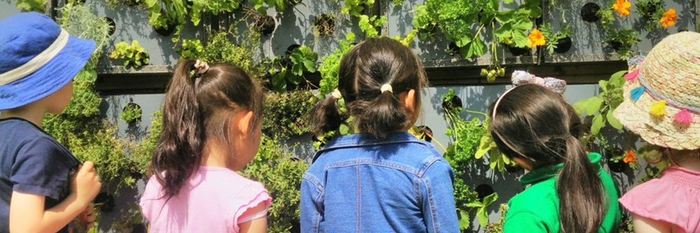 Busby PS children and the vertical garden
